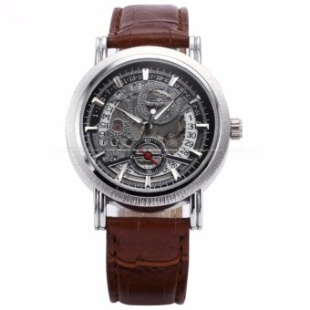 WINNER Classic Mens Skeleton Dial Automatic Mechanical Date Retro Brown Leather Watch PMW044