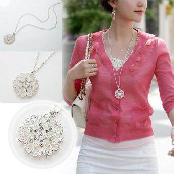 Women Hollow Flower Pendant Necklace Long Chain Sweater Necklace