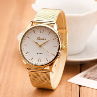 Womens Classic Gold Geneva Quartz Stainless Steel Wrist Watch White