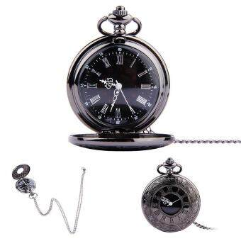 YBC Vintage Roman Numerals Quartz Pocket Watch With Chain Pendant Necklace