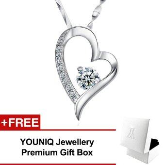 YOUNIQ Filled In Love 925 Sterling Silver Pendant Necklace with Cubic Zirconia (White)