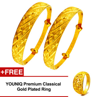YOUNIQ Premium Classical 24K Gold Plated 2 Units Bangle Set Free YOUNIQ Gold Plated Ring