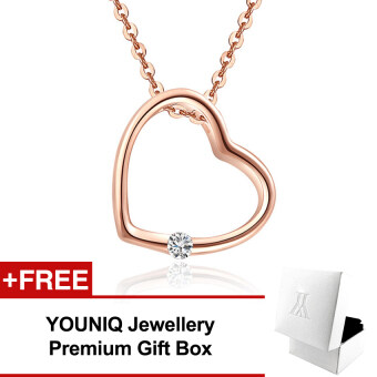 YOUNIQ Simple Love 925 Sterling Silver Necklace Pendant with Cubic Zirconia (Rosegold)