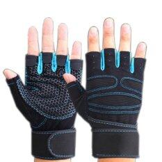 Buytra Weight Lifting Gym Gloves Workout Wrist Wrap Sports Exercise Training Fitness Blue