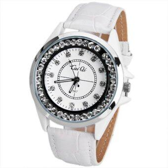 ... Marks with Round DialLeather Watchband-silver white dial,white band