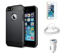 Impact-Resistant Case for iPhone 5/5S Black + FREE LDNIO Car Charger + Lightning Cable + 9H Tempered Glass