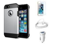 Impact-Resistant Case for iPhone 5/5S Silver + FREE LDNIO Car Charger + Lightning Cable + 9H Tempered Glass