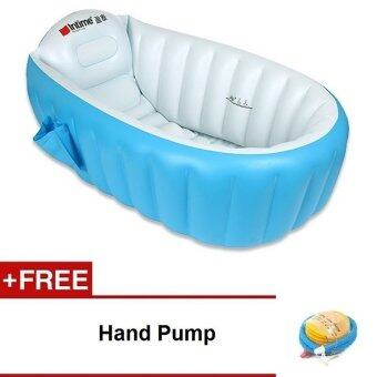 intime inflatable baby bath tub blue free hand pump lazada malaysia. Black Bedroom Furniture Sets. Home Design Ideas