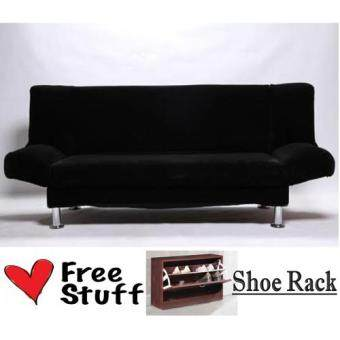 Living Room 3 Seater 2  in  1 Foldable Sofa Bed Black with FREE 2