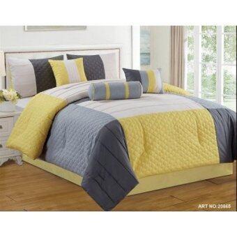 Modern 7 Piece Bedding Lemon Yellow Grey White