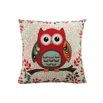 Sanwood Cute Owl Cotton Pillow Case Cushion Cover Home