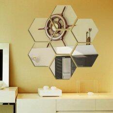 sokano 7 pcs acrylic decorative hexagon mirror wall sticker
