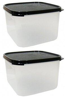 Tupperware 2pc 2 6l modular mates square 2 ii set black for Decor 6l container