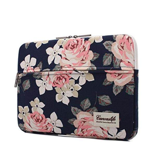 Canvaslife White Rose Pattern 13 inch Canvas laptop sleeve with pocket 13 inch 13.3 inch laptop case macbook air 13...