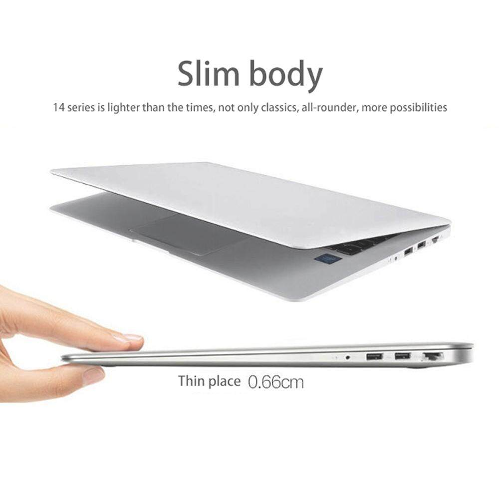 14.1″ Ultraslim Quad Core 6G 64GB Laptops Windows 10 HD 1920×1080 9000mAh Portable Laptop White