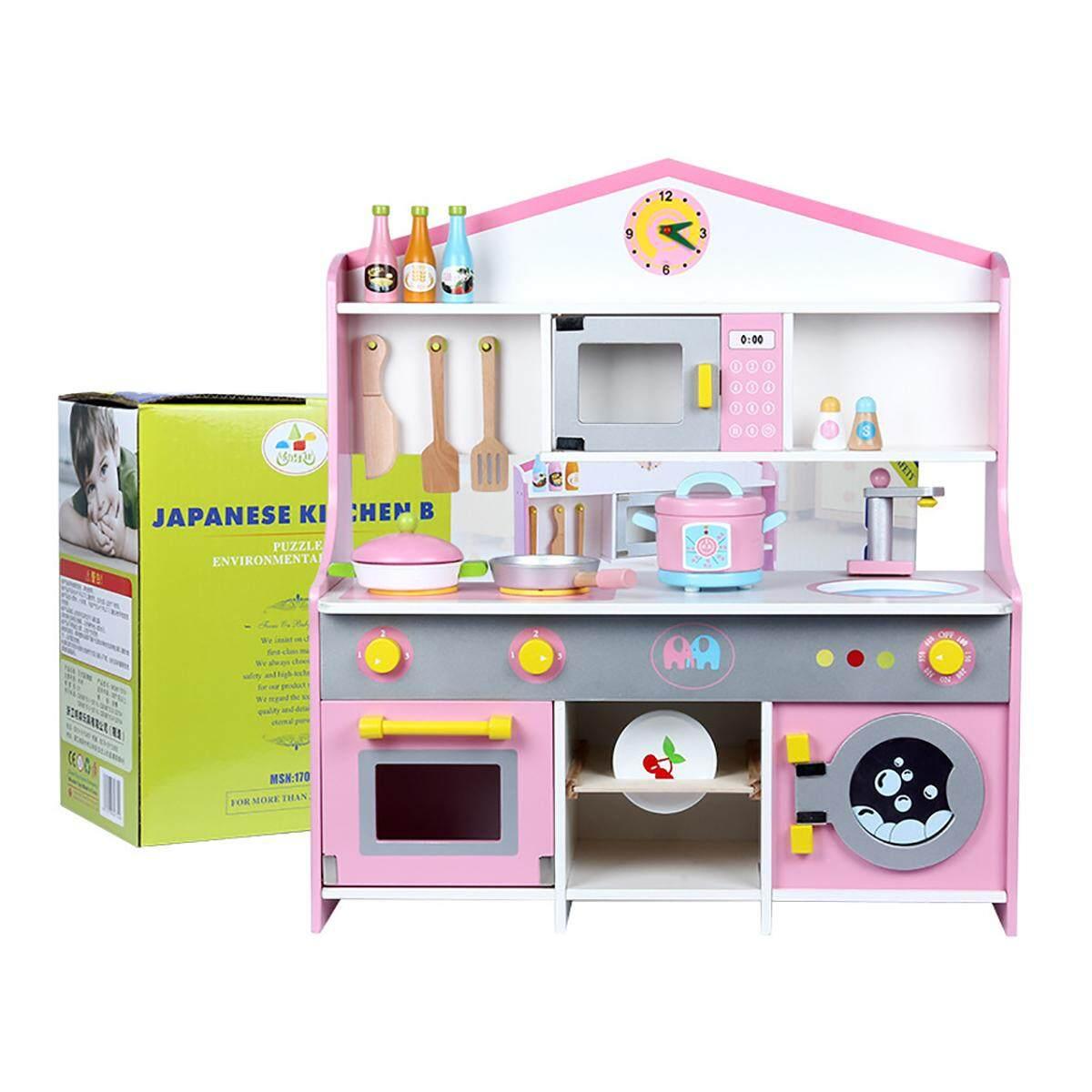 Anak-anak Kayu Dapur Mainan Peralatan Masak Set Mainan Bermain Memasak  Makanan Gadis Hadiah Pink d2c8fccb75