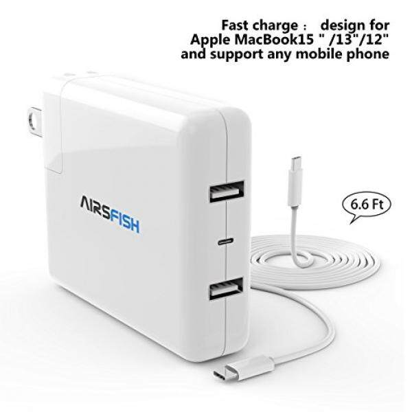 Macbook Pro charger 87W/61W/29W, Airsfish USB C Power Adapter for Macbook Pro 15 inch/13 inch/12 inch with Dual USB C Ports and One Type C Port. – intl