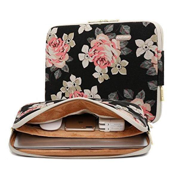 KAYOND Rose Pattern 13 inch Canvas laptop sleeve with pocket 13 inch 13.3 inch laptop case macbook air 13 case macbook pro 13 sleeve – intl