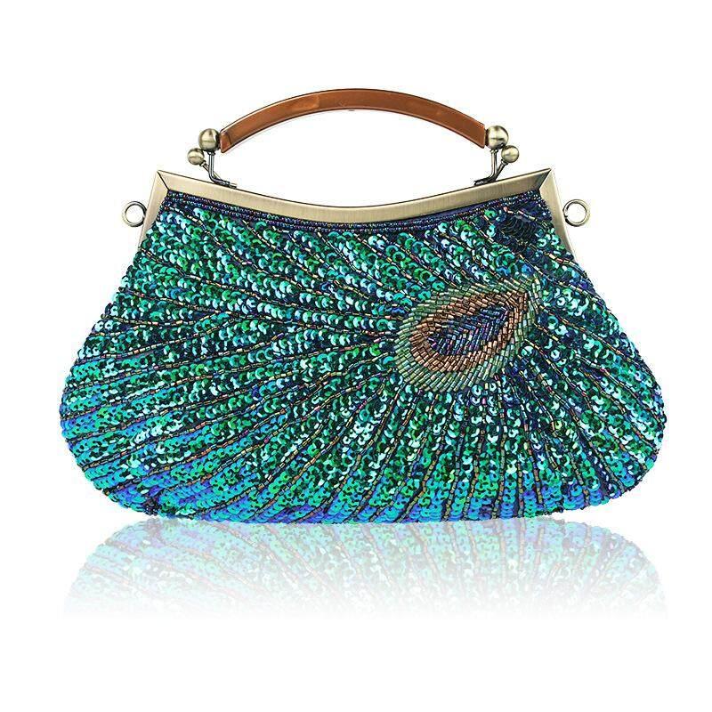 Hot-selling peacock Dinner Bag quality hand bag boutique beaded bag shoulder bag