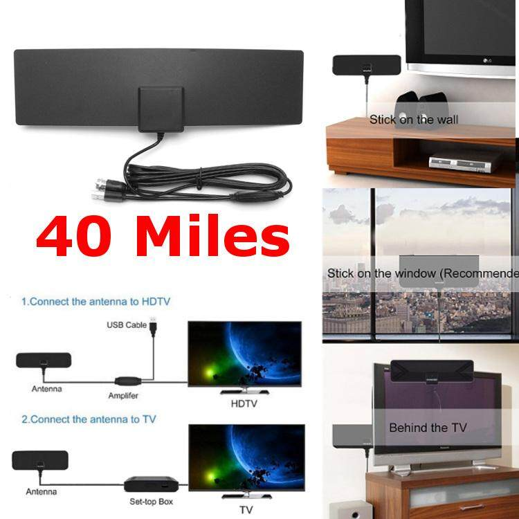 Sale Beautiy City Amplified Indoor Hdtv Antenna Black For Power Uhf Vhf Fm Digital Tv 40 Miles Intl Singapore