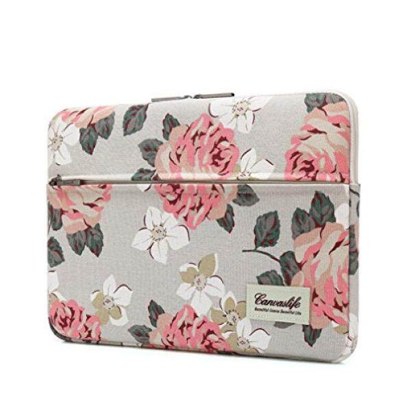 Canvaslife Pink Rose Pattern 13 inch Canvas laptop sleeve with pocket 13 inch 13.3 inch laptop case macbook air 13 case macbook pro 13 sleeve – intl