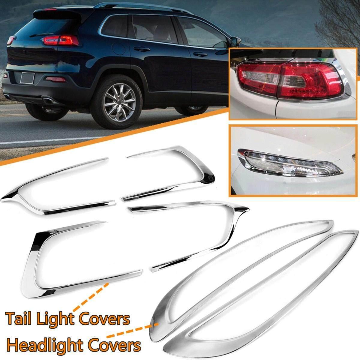 Dong ABS Cahaya Ekor Krom Covers + Penutup Lampu Trim untuk Jeep Cherokee 2014-2018
