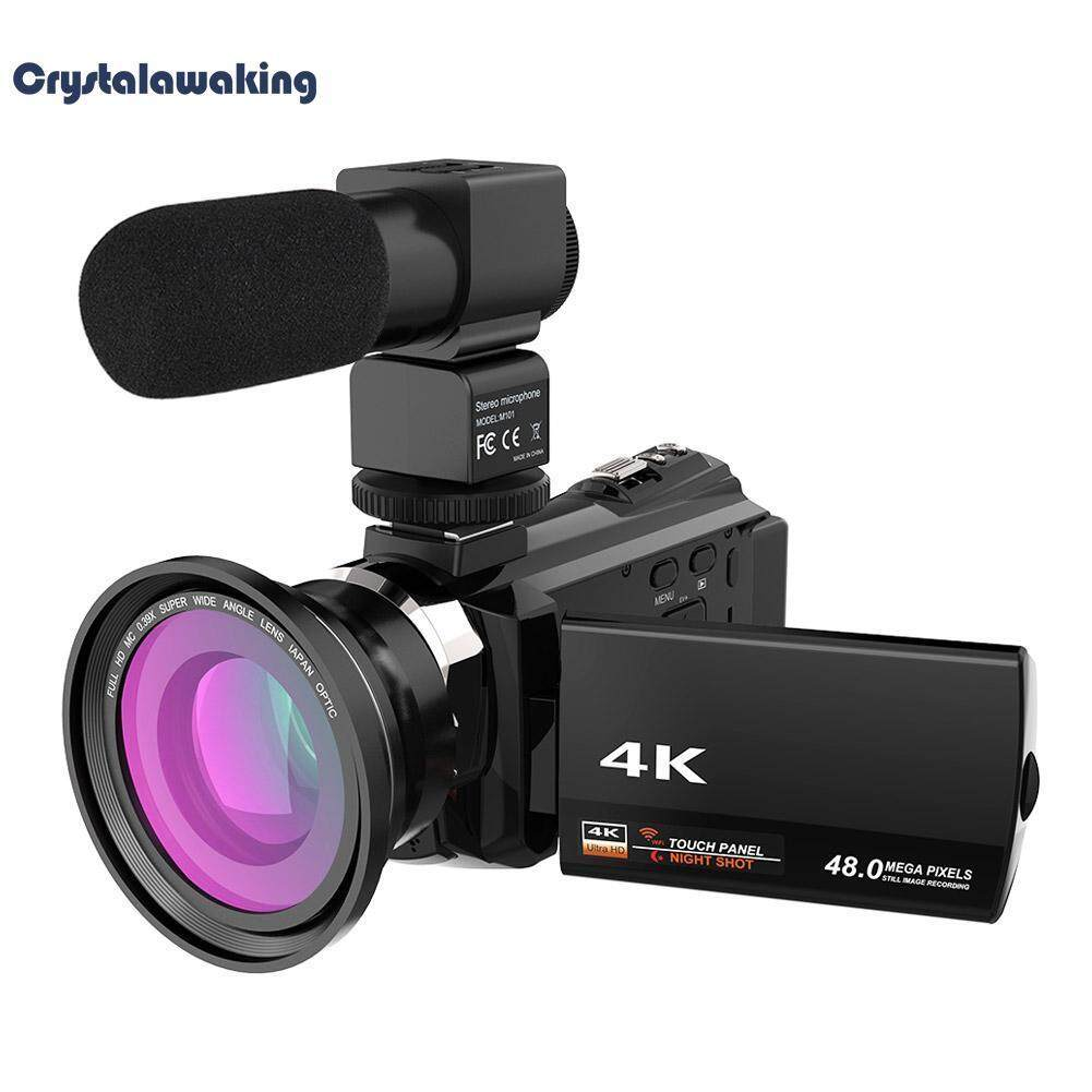 WiFi 4K 16X ZOOM Digital Video Camera Camcorder+Microphone+Wide Angle Lens (Black) – intl