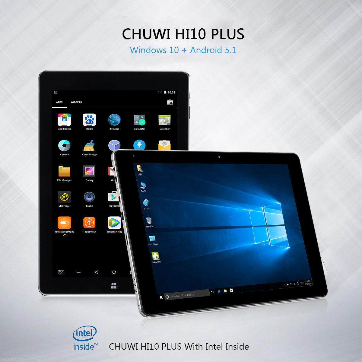 Hot!CHUWI HI10 PLUS CWI527 10.8 inch Windows 10 + Android 5.1 Tablet PC Intel Cherry Trail Quad Core 1.44GHz (4GB RAM +64GB ROM)Type-C HDMI