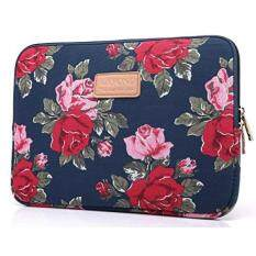 KAYOND KY-41 Canvas Fabric Sleeve for 13.3-inch Laptops – Peony Patterns (13.3, Bule Peony) – intl
