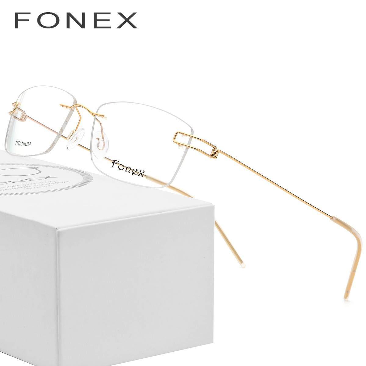 e1826767c3 HJC FONEX Screwless Eyewear Korean Glasses Frames Frameless Titanium Alloy  Prescription Eyeglasses Myopia Optical Frame Silhouett