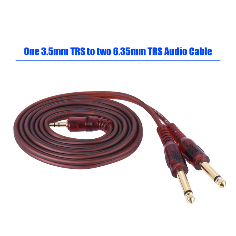 1.5m / 5ft Stereo Audio Cable Cord Wire 3.5mm 1/8 Male to Dual 6.35mm 1/4 TS Male Plug for Computer Mixer Mixing Console Malaysia