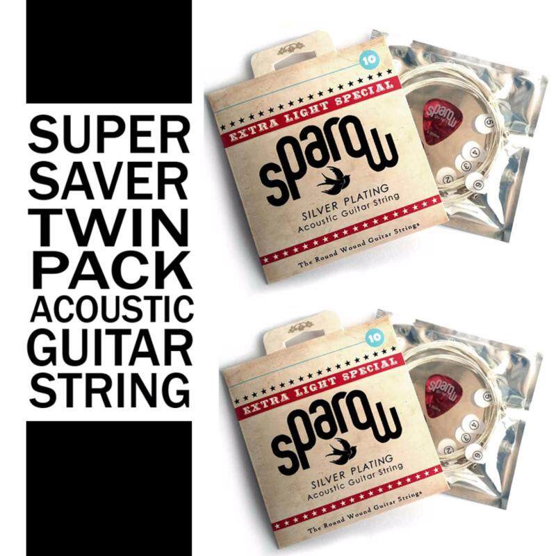 2 SETS 6 pcs Acoustic Guitar String Sparow Free 1 pick ( 10 - 48 extra light ) Malaysia