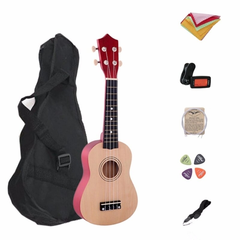 21 Inch Wood Concert Ukulele with Free Bag 7 in 1 Tuner Strap Spare String Wiper Ukulele Pick Malaysia