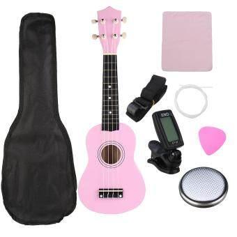 """21\"""" Soprano Basswood Ukulele Uke Hawaii Guitar Pink Musical Instrumen Bag Tuner"""
