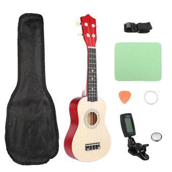 "21"" Wood Soprano Basswood Ukulele Uke Hawaii Guitar Musical Instrumen Bag Tuner"