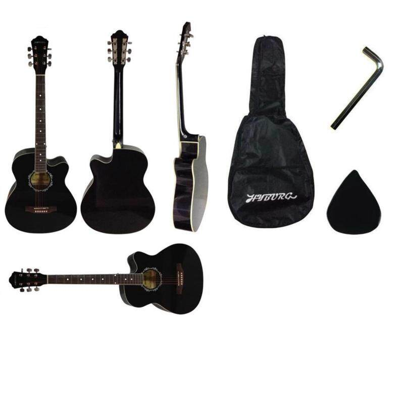 39 Inch High Gloss HYBURG Acoustic Guitar(Black)+Bag+Pick+Allen Key Malaysia