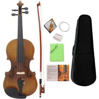 Harga 4/4 Full Size Violin Fiddle Matte Finish Spruce Face Board Ebony Fretboard 4-String Instrument with Hard Case Bow Rosin Clean Cloth Outdoorfree
