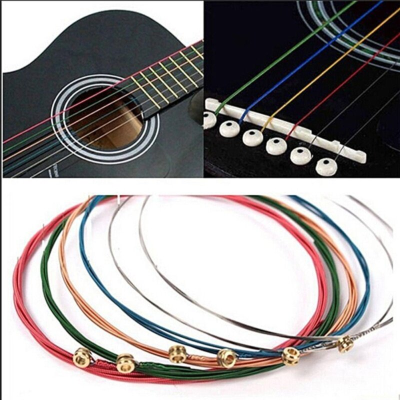 Acoustic Guitar Strings Guitar Strings One Set 6pcs Rainbow Colorful Color Chic Multicolor Malaysia