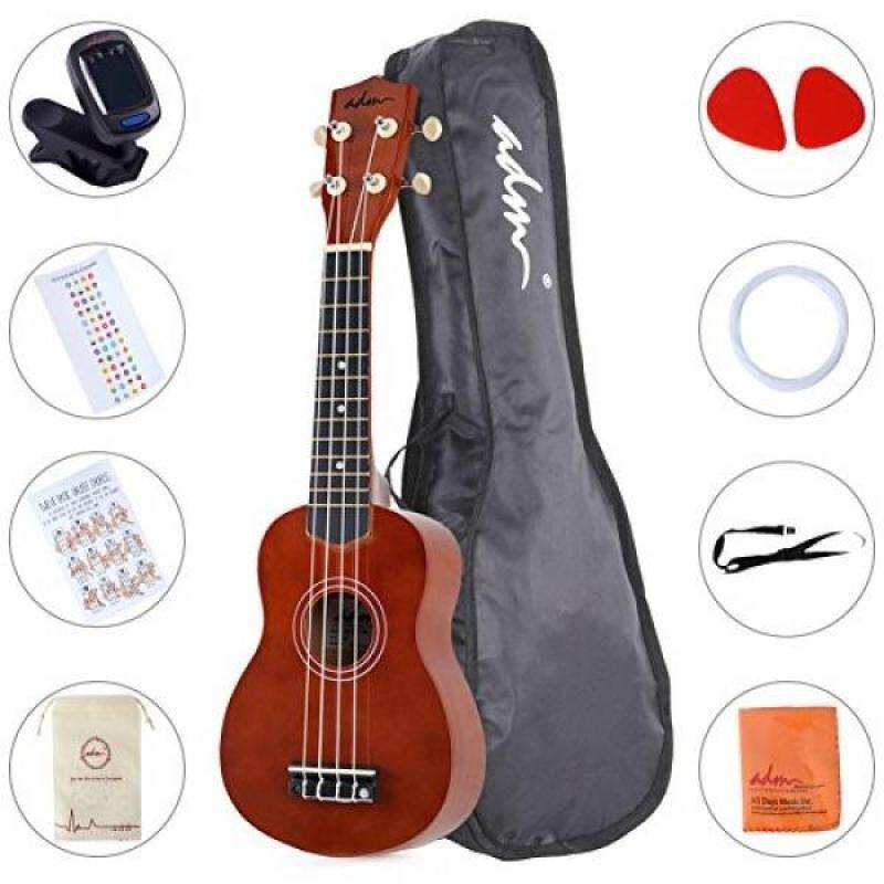 ADM Ukulele 21 Soprano Wood Economic Starter Pack with Gig bag, Tuner, Fingerboard Sticker, Chord card, Brown Malaysia