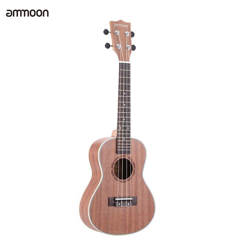 ammoon 24 Sapele Ukulele 4 Strings with Rosewood Fretboard White Brims Musical Instrument New Years Day Gift Present Malaysia