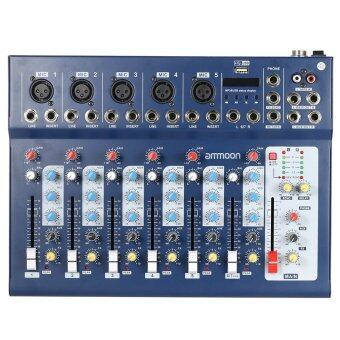 ammoon F7-USB 7-Channel Digtal Mic Line Audio Sound Mixer Mixing Console with USB Input 48V Phantom Power 3 Bands Equalizer for Recording DJ Stage Karaoke Music Appreciation Outdoorfree - 2
