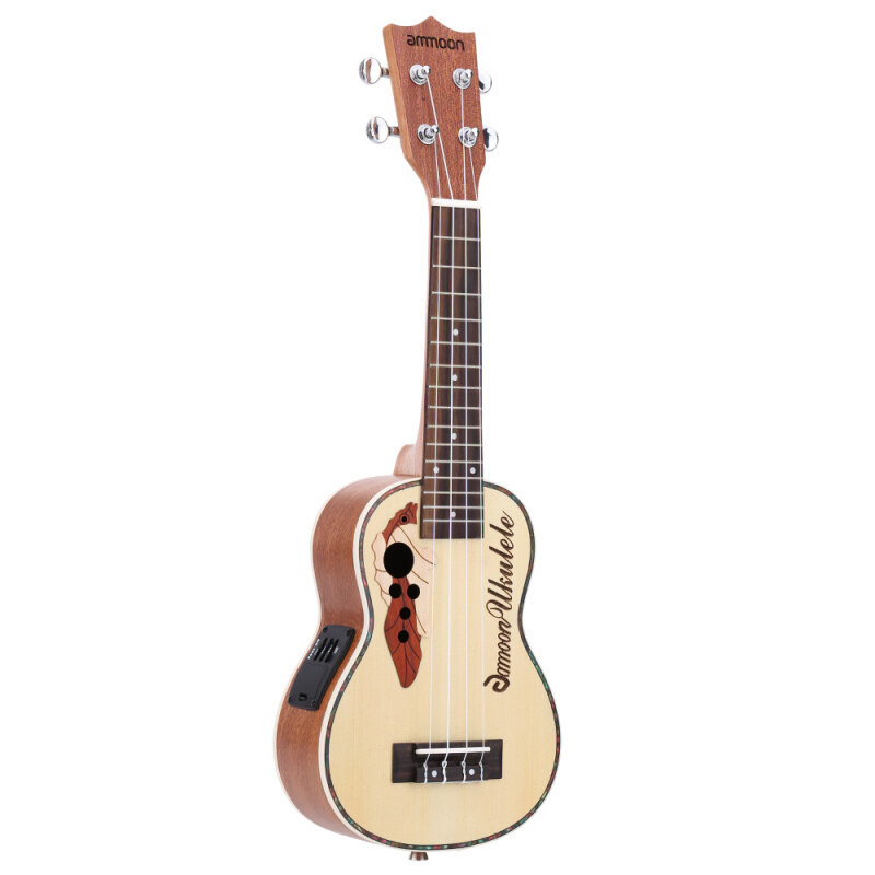 ammoon Spruce 21 Acoustic Ukulele 15 Fret 4 Strings Stringed Musical Instrument with Built-in EQ Pickup Malaysia