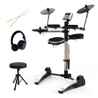 Aroma TDX-10 Digital Electronic Drum (Black) + Drum Stool + Drum Sticks + Headphone