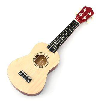 Basswood Color 21 Inch Acoustic Soprano 4 String Mini BasswoodUkulele Musical Instrument Toy Learning Educational Music Toys ForKIDS