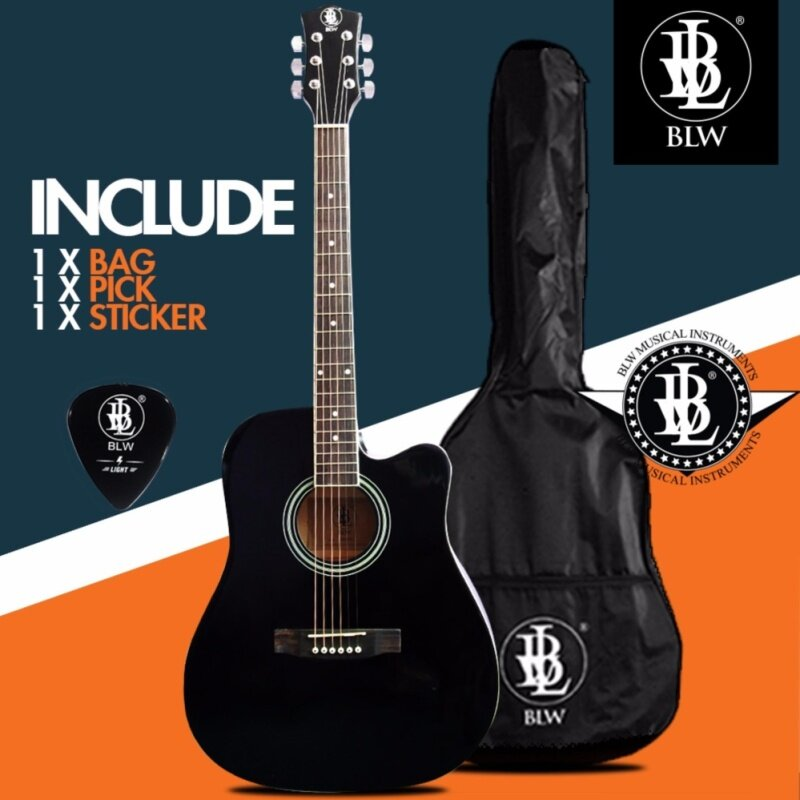 BLW 41 Inch Standard Dreadnaught Model Acoustic Guitar for Beginners SD410 Comes with Bag, Pick and Merchandise Sticker (Black) Malaysia