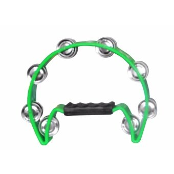 BLW Double Jingle Single Row Halfmoon Tambourine Tamborin forNasyid , Karaoke , Music Performance (Green)