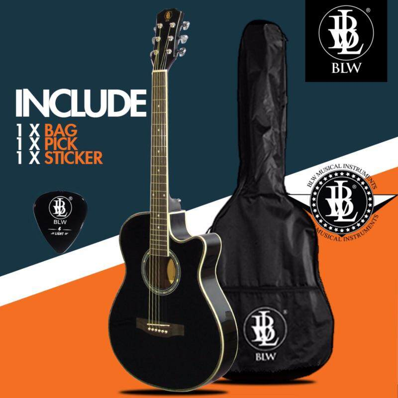 BLW Slimcoustic Slim Petit Acoustic Guitar for beginners with Guitar Bag, Guitar Pick and Merchandise Sticker (Black) Malaysia