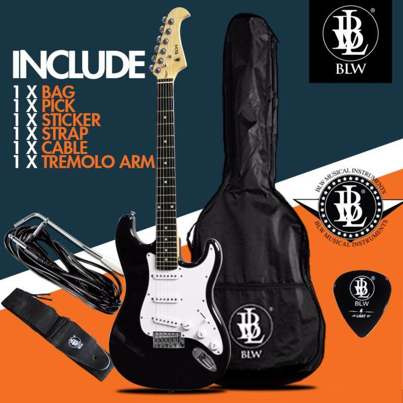 BLW Stratocaster Style Electric Guitar Starter Beginner Pack comes with Bag, Cable, Strap, Pick and Merchandise Sticker (Black) Malaysia