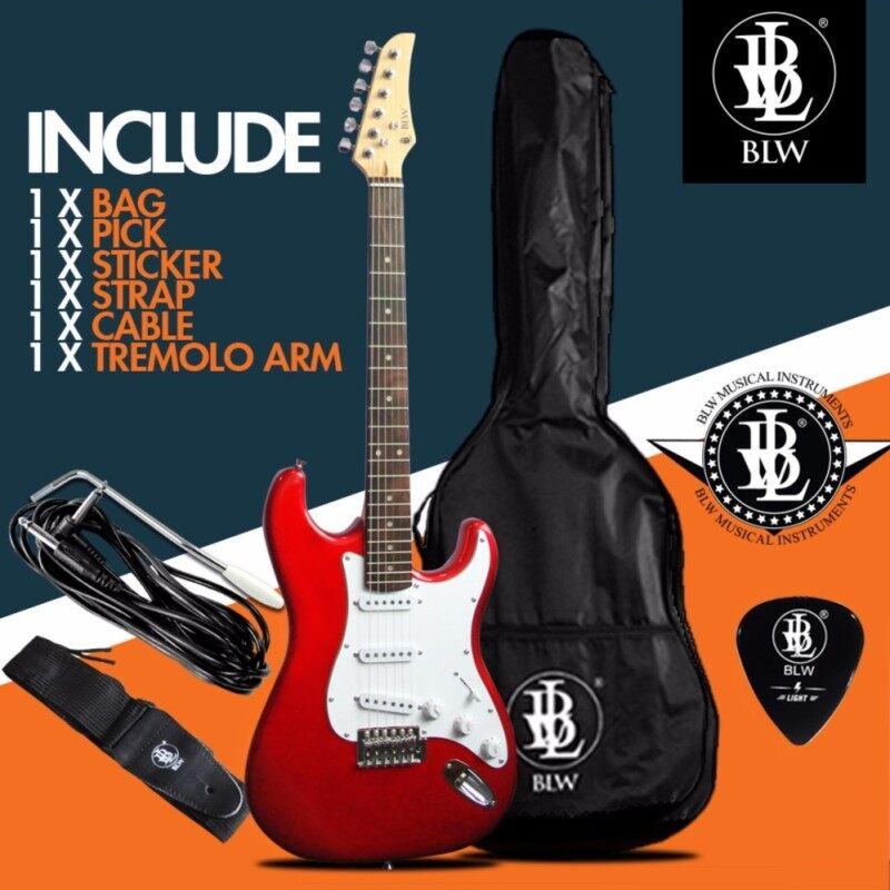 BLW Stratocaster Style Electric Guitar Starter Beginner Pack comes with Bag, Cable, Strap, Pick and Merchandise Sticker (Red) Malaysia