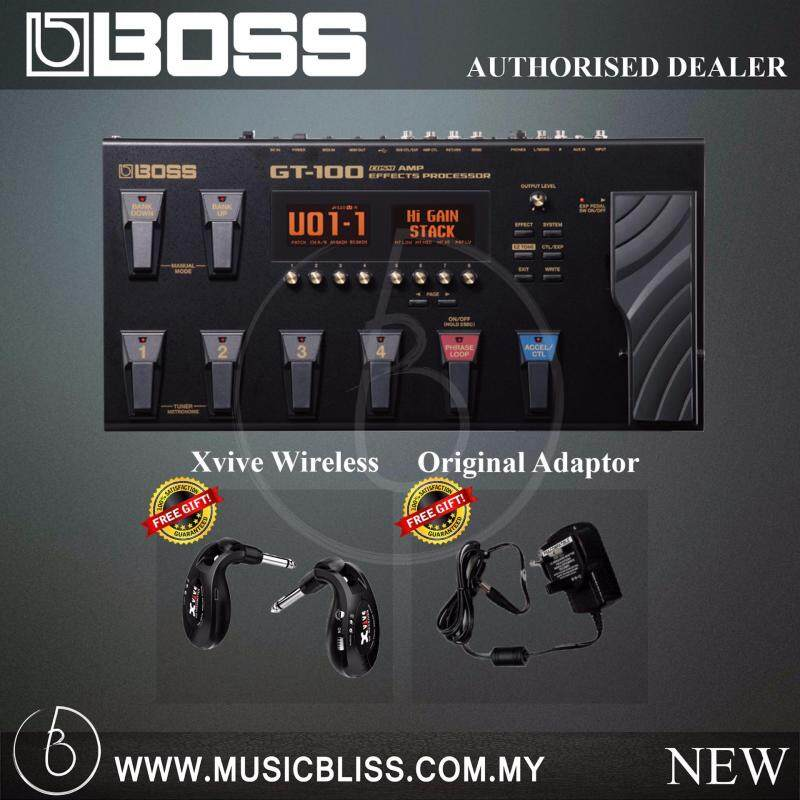 Boss GT-100 Guitar Mulit-Effects Pedal with Free Proguitarshop Xvive U2 Wireless Guitar System (GT100) Malaysia
